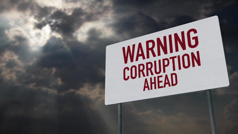 4K Warning Corruption Ahead Warning Sign under Clouds Timelapse Animation