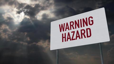 4K Warning Hazard Sign under Clouds Timelapse Animation