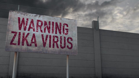 4K Zika Virus Warning and Strong Fence under Clouds Timelapse Animation