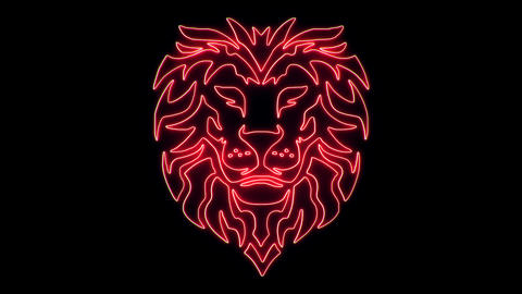 Red Neon Lion Head Animated logo Loopable Graphic Element V1 Animation