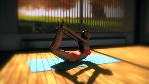 Bow Yoga Pose in Yoga studio 3D Animation Animation