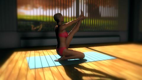 Heron Yoga Pose in Yoga studio 3D Animation Animation
