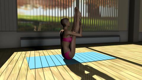 Seated Forward Yoga Pose in Yoga studio 3D Animation Animation