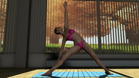 Triangle Yoga Pose in Yoga studio 3D Animation Animation