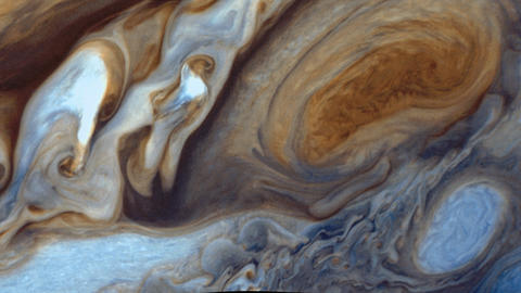 Jupiter's surface and the Great Red Spot Footage