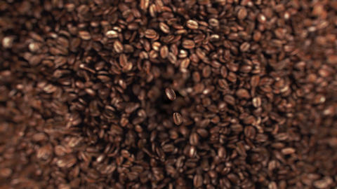 Coffee beans explosion in super slow motion 4K Animation