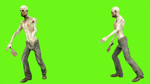 Zombie dance - seperated on green screen. Loopable. 4k Animation