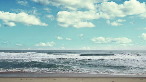 On the beach. Tranquil idyllic scene of over the sea Stock Video Footage