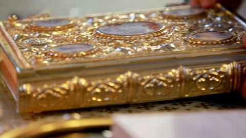 The church book is on the table . Church rite Footage