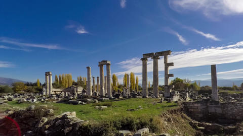 Ancient ruins of Aphrodisias, the Temple of Aphrodite with cloudy sky on the Footage