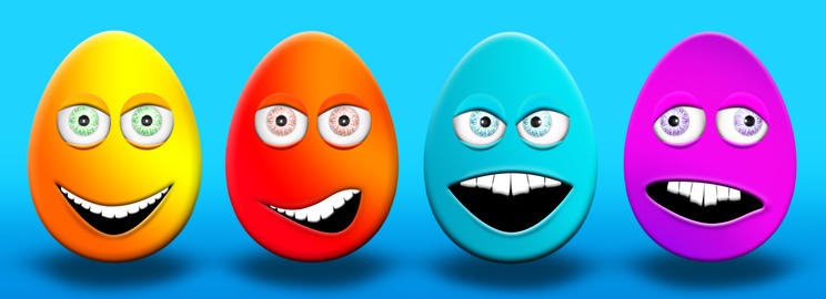 Easter Eggs With Eyes and Mouth Feeling Happy, Confused, Angry and Stupid 3D Fotografía