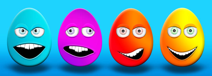 Easter Eggs With Eyes and Mouth Feeling Happy, Confused, Angry and Stupid 3D フォト