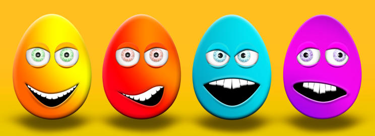 Easter Eggs With Eyes and Mouth Feeling Happy, Confused, Angry and Stupid 3D Photo