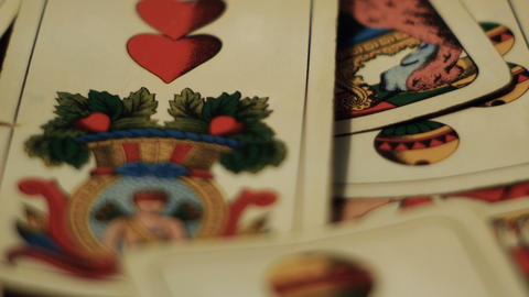 tracking shot on playing cards, gambling addiction Footage