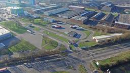 Krefeld / Germany - February 22 2016 : Outukumpu building in the sun, aerial Footage