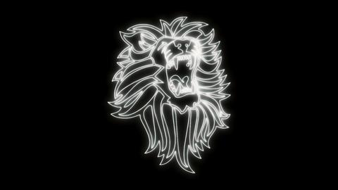 White Lion Roaring Animated Logo Loopable Graphic Element V1 Animation