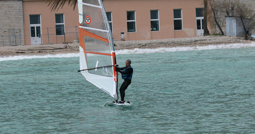 Man Windsurfing in The Blue Sea Footage