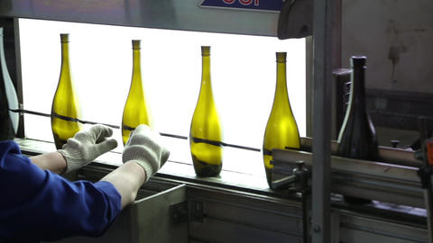 Worker checks quality and purity of glass bottles Live Action