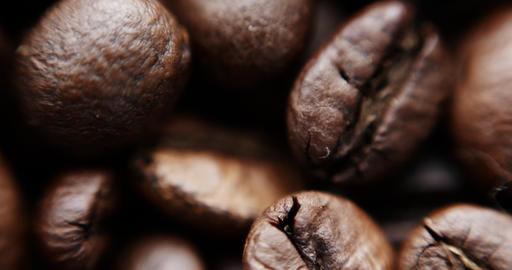 Slow motion shot of coffee beans Footage