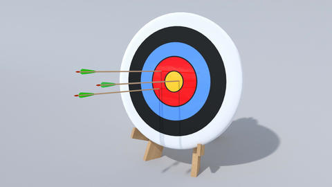 Arrows Hit an Archery Target Animation