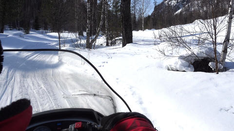Snowmobile Travelling Through Forest Footage