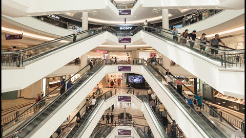 4K Timelapse: People on Escalators in Shopping Mall Center. Kuala Lumpur Footage