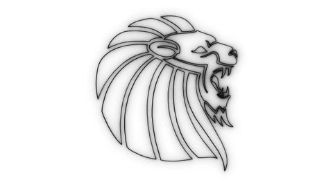 Black Neon Lion Head Animated logo Loopable Graphic Element V3 Animation