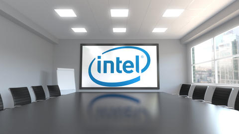 Intel Corporation logo on the screen in a meeting room. Editorial 3D animation Live Action