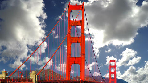 Clouds passing over world famous Golden Gate bridge in San Francisco Live Action