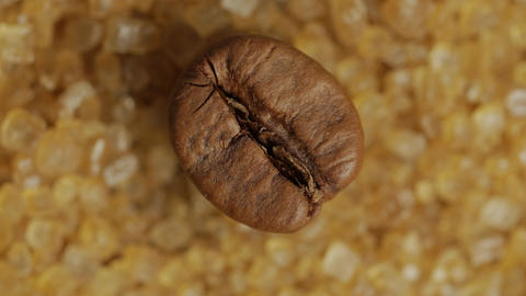 Brown coffee bean on sweet brown sugar crystals, macro shot Footage