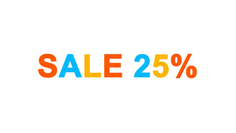 sale tag SALE 25% from letters of different colors appears behind small squares Animation