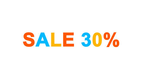 sale tag SALE 30% from letters of different colors appears behind small squares Animation