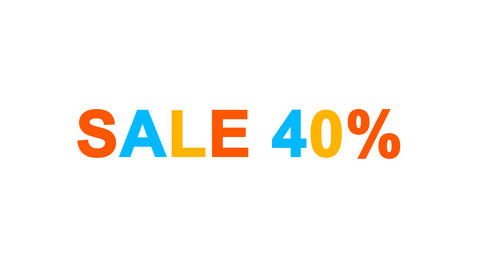 sale tag SALE 40% from letters of different colors appears behind small squares Animation