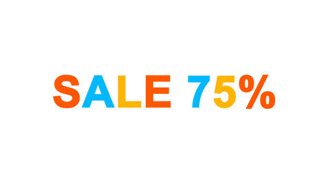 sale tag SALE 75% from letters of different colors appears behind small squares Animation