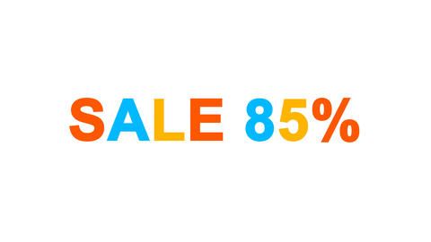 sale tag SALE 85% from letters of different colors appears behind small squares Animation