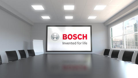 Robert Bosch GmbH logo on the screen in a meeting room. Editorial 3D animation Live Action