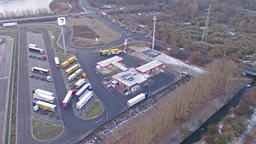 RHEINBERG / GERMANY - FEBRUARY 05 2017 : The Amazon, DHL and HAVI logistics Footage