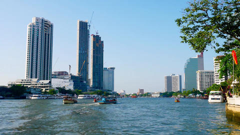Water traffic on the Chao Phraya River video timelaps Footage