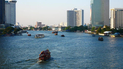Passenger boat on the Chao Phraya River Footage