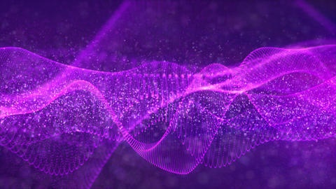 Digital abstract purple color wave particles background Animation