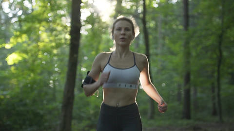 Athletic Woman Running in the Morning Sunrise Footage