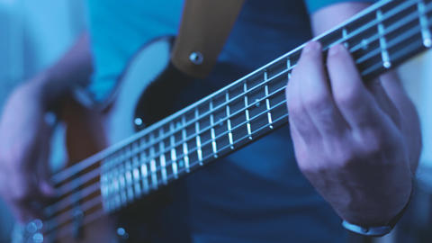 Man Playing Bass Guitar Footage