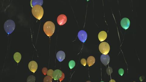 Flying Balloons Night Sky Footage