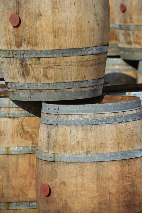 Storage of old barrels in a castle of Bordeaux vineyards フォト