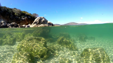 Split underwater view in Alghero turquoise sea. Sardinia, Italy Footage