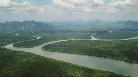 Aerial view of Phang Nga bay mangrove, Thailand Footage