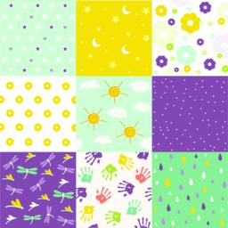 baby shower set of seamless backgrounds Vector