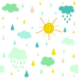 kids pattern with clouds rain drops and dots Vector