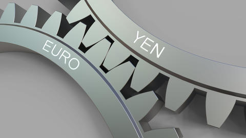 YEN and EURO words on meshing gears. Forex conceptual animation Live Action