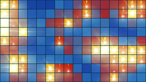 Mosaic Light Show Multi-Colored - 4k Colorful Pixel Grid Video Background Loop Animation
